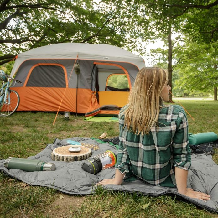 camping tent in woods