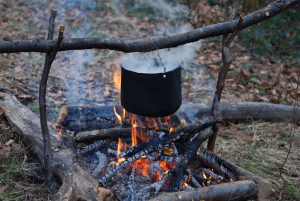 Pot of Food Cooking Over a Campfire