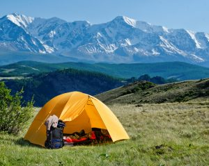 Primitive Camping by Mountains