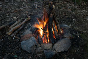 Teepee Campfire Burning