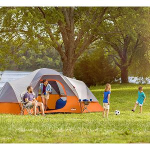 Family Camping in Core Extended Dome Tent