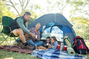 Family Inside of Camping Tent