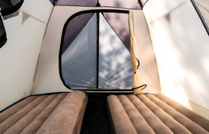Two Air Mattresses Inside a Family Camping Tent