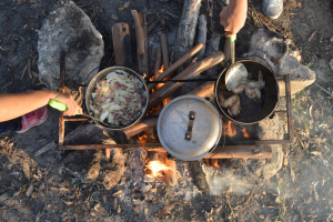 Camping Food in Cooking Pots