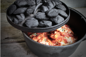 Dutch Oven with Food Inside
