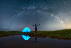 Camping in a Tent Beneath the Stars