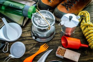 Camping Stove, Kettle, Bowls, and Utensils