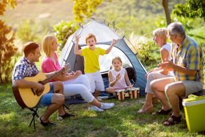 Large Family Camping in an 8 Person Tent