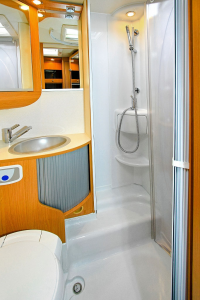 Bathroom and Shower Inside an RV Camper