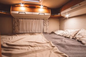 A Short Queen Sized Mattress Inside an RV