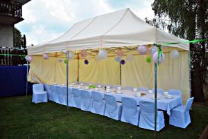 Canopy tent covering the dinner table at an outdoor event