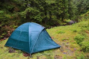 Wet Waterproof Camping Tent During Rain in the Woods