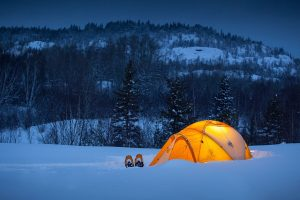 Camping tent in isolation during winder snow