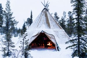 Large Teepee Tent Covered in Snow